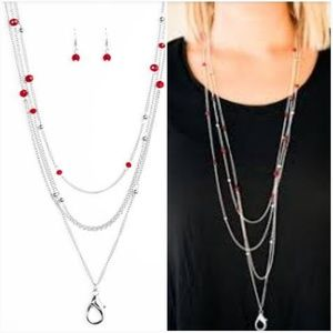 ON THE FRONT SHINE RED LANYARD/EARRING SET